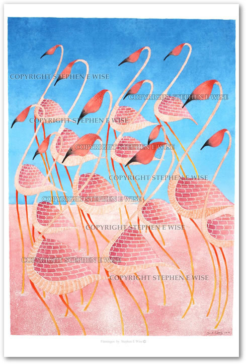 Buy Art Prints from leading Contemporary Artist Stephen E Wise - Artwork Title : Flamingos