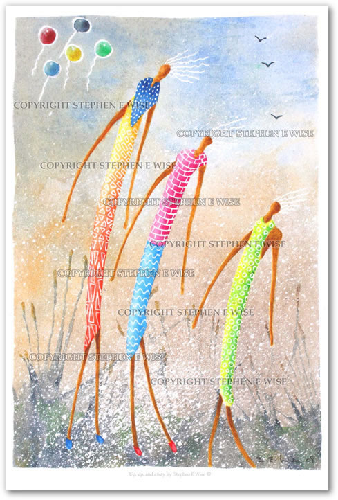 Buy Art Prints from leading Contemporary Artist Stephen E Wise - Artwork Title : Up,up,and away